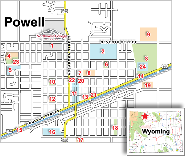 Map of Powell WY
